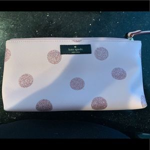 Kate Spade pink sparkle dot cosmetic case